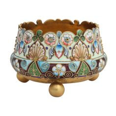 Russian Enamel On Silver Footed Salt Dish Russia Circa 1900 A fine Russian enamel on silver footed salt dish decorated in shaded enamels