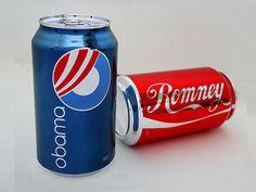 Latinhas com a identidade visual de Obama e Romney, do artista plástico Someguy, personagem criado por Brian Singer.