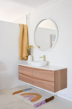 Inject a little bit of fun into your bathroom with simple pops of colour. Inject a little Large Tile Bathroom, Timber Bathroom Vanities, Moroccan Bathroom, Modern White Bathroom, Master Bathroom Vanity, Bathroom Tile Designs, Bathroom Images, Rustic Bathrooms, Minimalist Bathroom