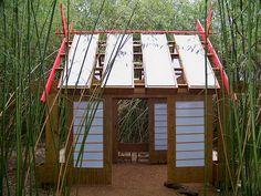 love the japanese style tea house playhouse in a bamboo garden!