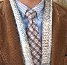 Blue bengal stripe button-down shirt; plaid cotton necktie; wool blend hand-loomed scarf; tan corduroy sport coat.