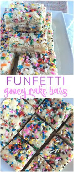 Soft, super sweet, white chocolate, funfetti cake mix, and a healthy dose sprinkles make these funfetti gooey cake bars a big hit! They are only 6 ingredients and super simple to make too. Cake Bars, Dessert Bars, Cake Batter Bars, Dessert Table, Köstliche Desserts, Delicious Desserts, Dessert Recipes, Yummy Food, Bar Recipes