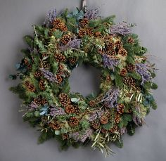 Wild at Heart Scented Lavender Wreath. This beautifully scented wreath features heavenly lavender, lichen, eucalyptus and pine cones. Christmas Blessings, Christmas Traditions, Christmas Crafts, Christmas Wreaths For Front Door, Holiday Wreaths, Holiday Ideas, Yule, Navidad Natural, Christmas Flower Arrangements