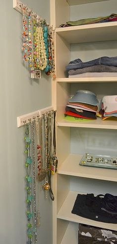 Affordable necklace storage right in your closet!  I just wish I had enough space in my closet to do this!