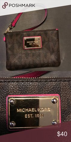 Michael Kors wristlet. Michael Kors used wristlet. A few scratches on faceplate as seen in picture. Outside in great condition. Michael Kors Bags Clutches & Wristlets