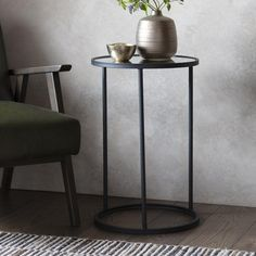 Hatton Side Table   INTERIORS ONLINE Metal Side Table, Round Side Table, Black Side Table, Glass End Tables, Glass Table, Black Furniture, Table Furniture, Unique Furniture, Contemporary Side Tables