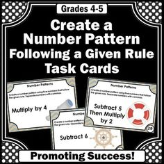 Number Patterns Games 4th Grade Common Core Math Centers or Stations