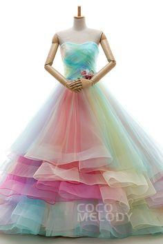 Romantisches A-Linie Herzausschnitt Kapellenschleppe Tüll Multicolor Ärmelloses Schnürkorsett Brautkleid mit Plissee und Gestuft JWLT15067