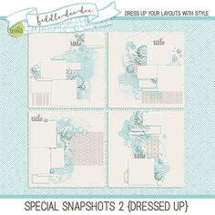 Special Snapshots 2 {Dressed Up} is a set of templates that allows you to showcase a selection of your favorite photographs . . . for those of you who can't choose just one!  	This personal use/S4H template set includes four (4) layered 12x12 templates in both .psd and .tif fil...