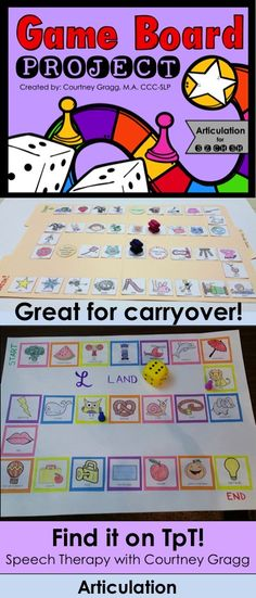 Speech Therapy Game Board Project: print & go materials for students to create their very own game!