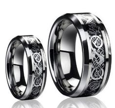 Amazon.com: His & Her's 8MM/6MM Dragon Design Tungsten Carbide Wedding Band Ring Set (Available Sizes 5-14 Including Half Sizes) Please e-mail sizes: Jewelry
