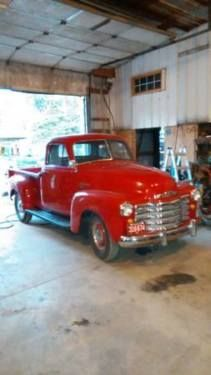 1949 Chevy 1/2 Ton Pickup (IN) - $36,900 2 door Red exterior with Tan leather interior. RWD, 3 speed manual transmission, 265 V-6 engine. Well maintained and garage kept. Completely restored, abou