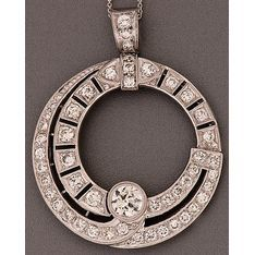 18ct white gold Art Deco pendant pierced circular set… - Pendants/Lockets - Jewellery - Carter's Price Guide to Antiques and Collectables