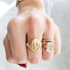 "New #vintage signet seal rings in the #Oakland shop! Big one reads ""prosperous ense et animo/ succeed with heart and sword"" #esqueleto #esqueletoOAK"