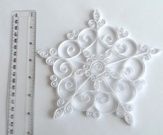 White Paper Snowflake 7in Paper Quilled Snowflake Christmas