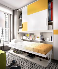 Decorate your room in a new style with murphy bed plans Murphy Bed Ikea, Murphy Bed Plans, Girl Bedroom Designs, Kids Bedroom, Kids Room Design, Interior Design Living Room, Camas Murphy, Bed Wall, Child Room