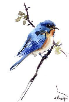 Eastern Bluebird, Original watercolor painting, 10 x8 in, bluebird lover art, bluebird wall art