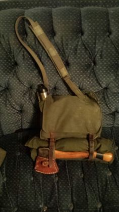 Serbian back pack/shoulder in haversack mode. I have a Polish lavvu shelter half rolled up and strapped to the bottom.