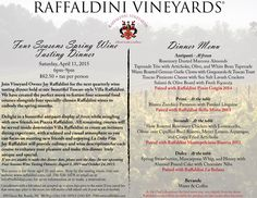 The menu for Raffaldini Vineyards' Spring 2015 Four Seasons Wine Tasting Dinner is ready for your viewing!  Join us for this lovely four course wine tasting dinner on Saturday, April 11, 2015 from 6pm-9pm, $82.50 plus tax per person.  #ncwine #winetasting #raffaldini Pimiento Cheese, Romantic Night, April 11, White Beans, Dinner Menu, Four Seasons, Spring 2015, Wine Tasting, Vineyard