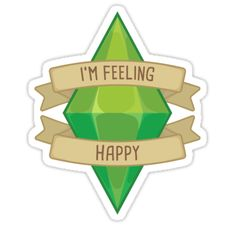 'I'm Feeling Happy Plumbob' Sticker by PogoAGogo Journal Stickers, Scrapbook Stickers, Laptop Stickers, Printable Stickers, Cute Stickers, Make A Phone Case, Painted Jeans, Tumblr Stickers, Aesthetic Stickers