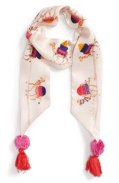 Main Image - kate spade new york camel march skinny silk scarf Embroidery Scarf, Pink Shawl, Stylish Dress Designs, Pink Scarves, Scarf Design, Colorful Fashion, Scarf Styles, Kate Spade, Skinny