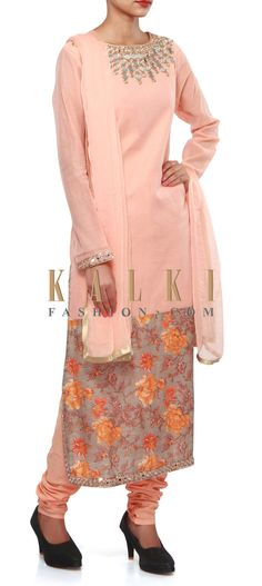 Buy Online from the link below. We ship worldwide (Free Shipping over US$100). Product SKU - 307089.Product Link - http://www.kalkifashion.com/straight-suit-in-peach-features-in-mirror-embroidery-only-on-kalki.html