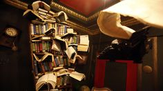 The Last Bookstore - Los Angeles Bookcase by David Lovejoy, flying typewriter by Jena Priebe.