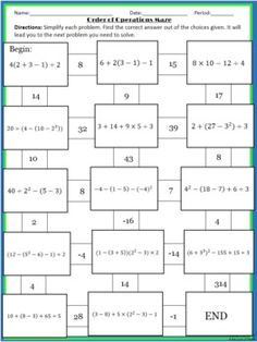 ORDER OF OPERATIONS MAZE - TeachersPayTeachers.com