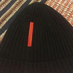 4e5ee4106da Prada Knit Skull Cap in Black Prada black knit hat. Ribbed knit. Red Prada