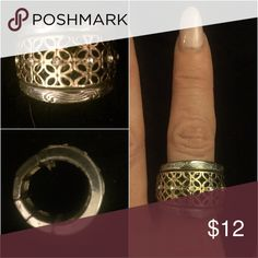 💥BOGO💥 Mixed metal chunky ring Mixed metal chunky ring with gold tone, silver tone and rhinestones is stretchy and will expand to fit any size finger. There's a lil bit of tarnish on the underside (see last pic) but it's not noticeable when you're wearing it and the face of the ring is in perfect condition Jewelry Rings