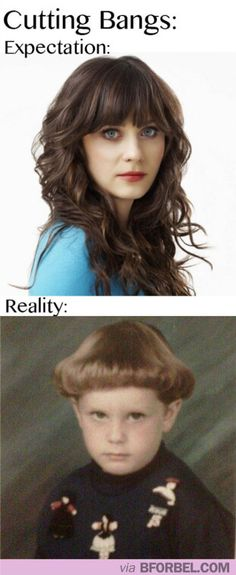 TRUTH - EVERYONE thinks they will look like Zoe Deschanel when they get bangs.  Maybe 2% of people actually will...