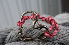 Silver heart fish hook bracelet with pink by CoastalCreations305, $17.99