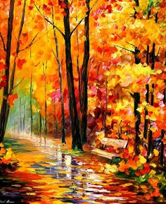 Gold impression PALETTE KNIFE Oil Painting by AfremovArtGallery, $319.00