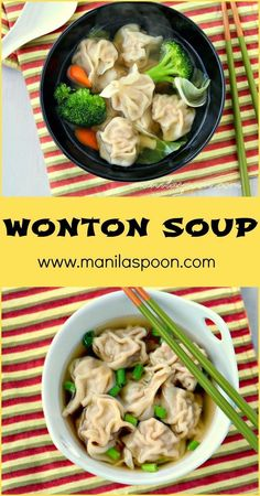 This is seriously a delicious recipe for Wonton Soup - comfort food in a bowl. It's so easy to make that even my young kids help me when I make this. #wonton #soup #chinesefoodrecipes