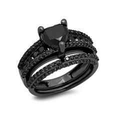 Wedding Ring Set (€600) ❤ liked on Polyvore featuring jewelry, rings, sterling silver, heart shaped wedding rings, black wedding rings, black heart ring, womens jewellery y black engagement rings