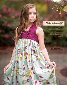 Garden Dreamer Fabric Collection by Maureen Cracknell of Art Gallery Fabrics. Art Gallery Fabrics Lookbook. Dress made by Ali Brorsen of Because of Brenna. Meraki dress by JL patterns.