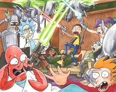 Rick and Morty Invade Futurama Hand-Drawn 11x14 by FunGuyStudios