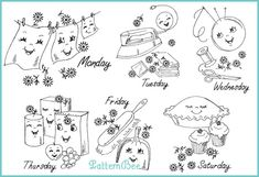 Cheerful Chores - Free vintage embroidery patterns