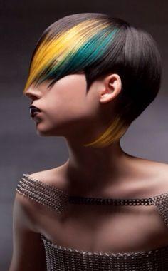 Kinki yellow Turqoise blaak short Haircut