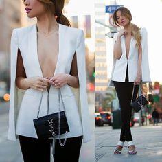 Blazer Cape (by Jessi Malay) Blazer Outfits, Fall Outfits, Casual Outfits, Blazer Dress, Girl Fashion, Fashion Outfits, Womens Fashion, Fashion Design, White Cape Blazer