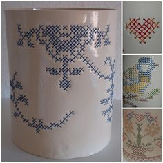 Cool way to introduce counted cross stitch  into pottery. Embroidered ceramics by Irene.dk http://irene.dk/keramik/broderi-krukker/