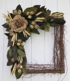 Square Wreath, Square Twig Wreath, Dried Flower Wreath, Dried Flower Square  Wreath, Square Pole Wreath, Wall Decor, Dried Floral Wreath