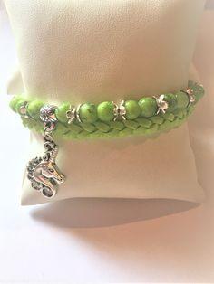 """Bracelet """"La licorne et les perles vertes"""""""