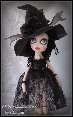 RAVEN  Ooak collectible Art Witch Doll by OCRPrimitiveArts on Etsy, $100.00