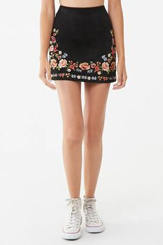 Product Name:Faux Suede Embroidered Mini Skirt, Category:bottoms, Hi Fashion, Fashion Dresses, Fashion Design, Western Outfits, Western Wear, Stylish Jeans Top, Chic Outfits, Trendy Outfits, Embroidery Fashion