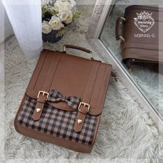 Margaret Plaid Joint Backpack by Morning Glory Pre-order ends August 2019 Style Kawaii, Kawaii Bags, Leather Bag Pattern, Novelty Bags, Kawaii Accessories, Accesorios Casual, Lolita, Cute Backpacks, Girls Bags