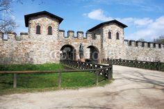 Roman fort Saalburg - south side - main gate. The Saalburg is a Cohort Fort belonging to the Limes Germanicus. It is located on the Taunus ridge northwest of Bad Homburg in Hesse, Germany.
