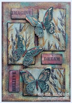 mixed media art Mixed Media Canvas with Tim Holtz Mini Detailed Butterfly Thinlits - by Nikki Acton Mixed Media Journal, Mixed Media Collage, Mixed Media On Canvas, Altered Canvas, Altered Art, Tim Holtz, Mixed Media Techniques, Painting Techniques, Butterfly Art