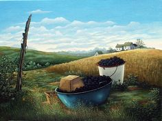 """Blue Pan With Blackberries""  by Eldridge Bagley"
