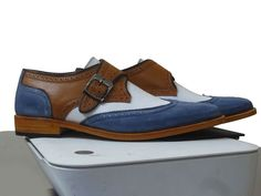 Handmade Men's Leather Monk Strap Shoes, Men's White Brown Blue Color Wing Tip Brogue Stylish Shoes Brand Leather Edges Country/Region of Manufacture Pakistan Running Size US… White Dress Shoes, Dress With Boots, Lace Up Shoes, Suede Leather Shoes, Leather Men, High Ankle Boots, Shoe Boots, Brown Formal Shoes, Cowboy Shoes